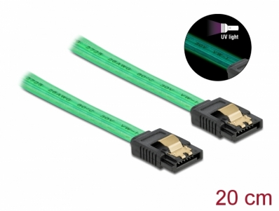 Delock SATA 6 Gb/s Cable UV glow effect green 20 cm
