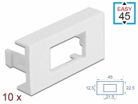 Delock Easy 45 Module Plate Rectangular cut-out 12.5 x 21.5 mm, 45 x 22.5 mm 10 pieces white