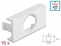 Delock Easy 45 Module Plate Round cut-out Ø 19.2 mm, 45 x 22.5 mm 10 pieces white