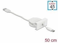Delock Easy 45 Module USB 2.0 Retractable Cable USB Type-A to USB Type-C™ white
