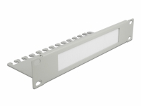 Delock 10″ Cable Management Brush Strip with Cable Support Plate 1U grey