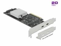 Delock PCI Express x8 Card to 2 x external SuperSpeed USB 20 Gbps (USB 3.2 Gen 2x2) USB Type-C™ female Dual Channel - Low Profil