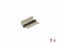 Delock Pin header 10 pin, pitch 1.27 mm, 1-row, angled, 5 pieces