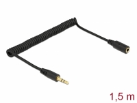 Delock Coiled Cable Extension 3.5 mm 3 pin Stereo Jack male to Stereo Jack female 1.5 m black