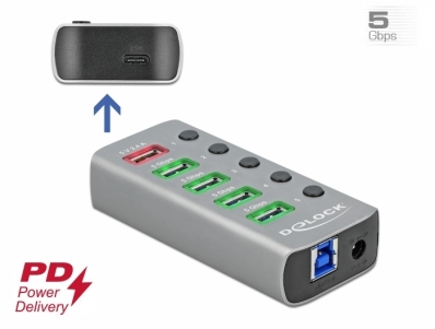 Delock USB 3.2 Gen 1 Hub with 4 Ports + 1 Fast Charging Port + 1 USB-C™ PD 3.0 Port with Switch and Illumination