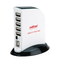 "ROLINE USB 2.0 Hub ""Black & White"", 7 Ports, with Power Supply"