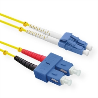 ROLINE Fibre Optic Jumper Cable duplex, 9/125µm, OS2, LC/SC, duplex, yellow, 1 m