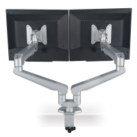 ROLINE Dual LCD Monitor Stand Pneumatic, Desk Clamp, Pivot, 2 Joints