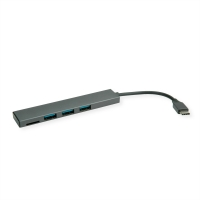 ROLINE USB 3.2 Gen 1 Hub, 3 Ports, Type C connection cable, with Card Reader