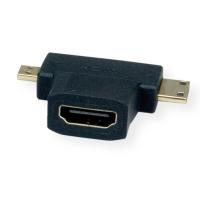 VALUE HDMI T-Adapter, HDMI - HDMI Mini + HDMI Micro