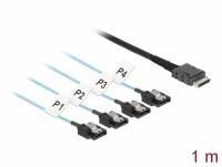 Delock Cable OCuLink SFF-8611 > 4 x SATA 7 pin 1 m metal