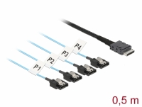 Delock Cable OCuLink SFF-8611 > 4 x SATA 7 pin 0.5 m metal