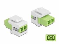 Delock Keystone Module LC Duplex female to LC Duplex female limegreen / white