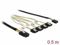 Delock Cable Mini SAS SFF-8087 > 4 x SATA 7 pin + Sideband 0.5 m metal
