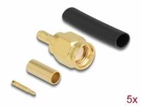 Delock SMA plug for crimping RG-174 / RG-316 with matching shrink tube