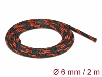 Delock Braided Sleeve stretchable 2 m x 6 mm black-red