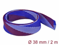 Delock Braided Sleeve stretchable 2 m x 38 mm blue-red-white