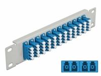 Delock 10″ Fiber Optic Patch Panel 12 Port LC Quad blue 1U grey