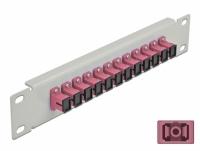 Delock 10″ Fiber Optic Patch Panel 12 Port SC Simplex violet 1U grey