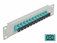 Delock 10″ Fiber Optic Patch Panel 12 Port SC Simplex aqua 1U grey