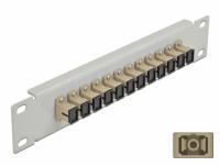 Delock 10″ Fiber Optic Patch Panel 12 Port SC Simplex beige 1U grey