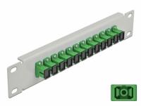 Delock 10″ Fiber Optic Patch Panel 12 Port SC Simplex green 1U grey