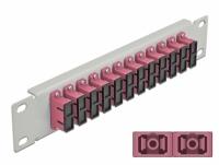 Delock 10″ Fiber Optic Patch Panel 12 Port SC Duplex violet 1U grey