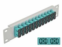Delock 10″ Fiber Optic Patch Panel 12 Port SC Duplex aqua 1U grey