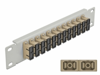 Delock 10″ Fiber Optic Patch Panel 12 Port SC Duplex beige 1U grey