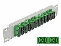 Delock 10″ Fiber Optic Patch Panel 12 Port SC Duplex green 1U grey
