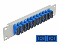 Delock 10″ Fiber Optic Patch Panel 12 Port SC Duplex blue 1U grey