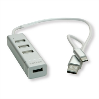 ROLINE USB 2.0 Notebook Hub, 4 Ports, Type A+C Connection Cable