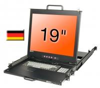 """Lindy 19"""" LCD KVM Console Dual Rail, DE layout"""