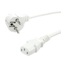 VALUE Power Cable, straight IEC Conncector, white, 0.6 m