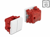 Delock Easy 45 2-gang Switch 1-pole 1-way 45 x 45 mm, white