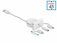 Delock Easy 45 Module USB 2.0 3 in 1 Retractable Cable USB Type-A to USB-C™, Micro USB and Lightning white