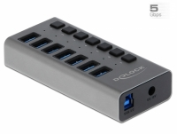Delock External SuperSpeed USB Hub with 7 Ports + Switch