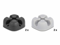 Delock Cable holder cross-shaped self-adhesive 4 pieces black / grey
