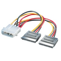 ROLINE Internal Y-Power Cable, 4-Pin HDD to 2x SATA 0.12 m